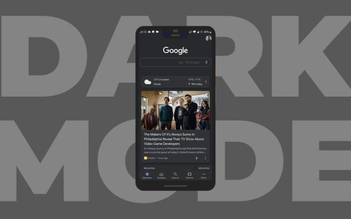 Google App with Dark Mode for Discover Feed, Search and